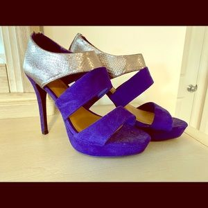 Blue suede and gold heels size 8